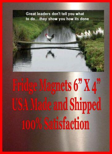 Great Leaders Show You Man Cave SIGN 4x6 Fridge Magnet Refrigerator DECOR BAR