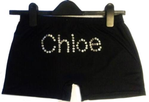 Personalised LYCRA Custom Black Dance Gymnastic Gym Shorts Glitter birthday gift