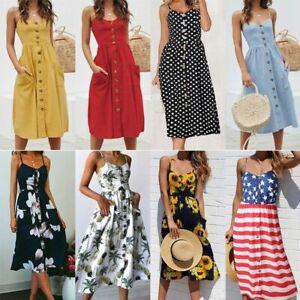 Women-Holiday-Strappy-Button-Pocket-Ladies-Summer-Beach-Midi-Swing-Sun-Dress-HOT