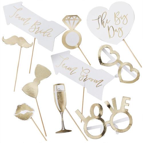 10 pcs Photo Booth Gold Wedding Mariage Photo Déguisement Moustache Props
