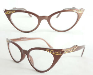 Cat Eye Nerd Brille Katzenaugenbrille lila transparent Klarglass Rockabilly 311 eh2xL