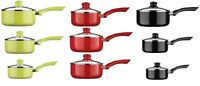3pc Ecocook Pan Saucepan Coordinate Set Aluminium Ceramic Coating With Glass Lid