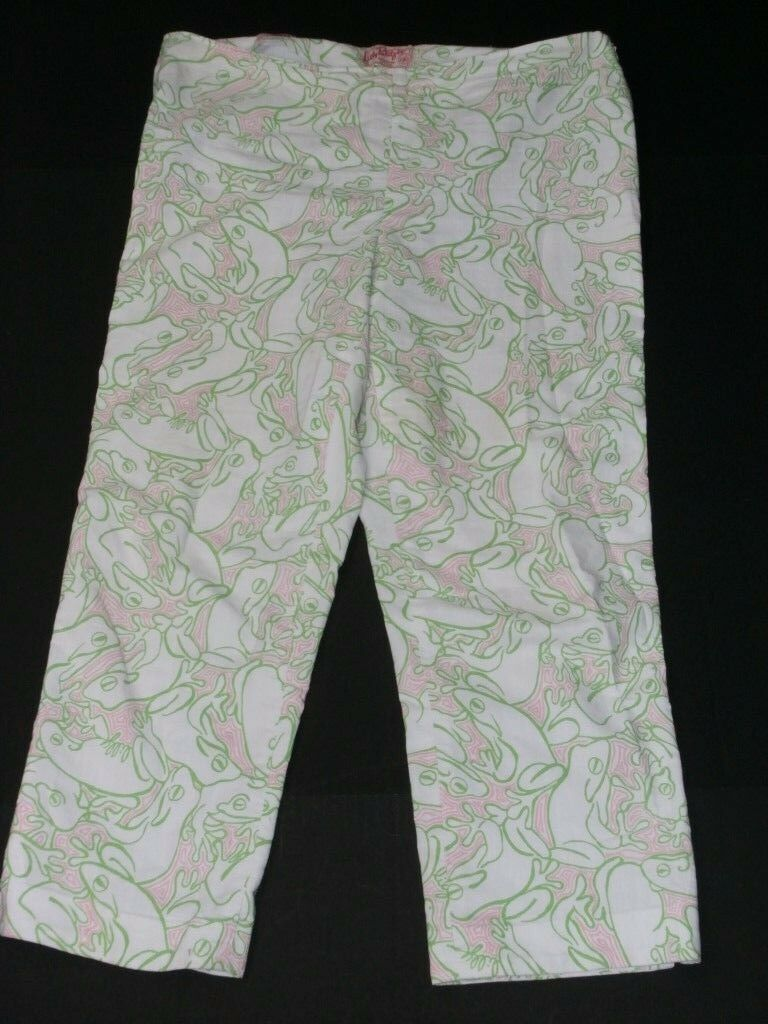 Lilly Pulitzer Originals Women Pants SZ 14 Capris Lilly's Pad Pink Green Frogs