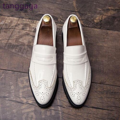 Gentlemen Men/'s White Leather Shoes British Brogue Wingtips Slip On Casual Shoes
