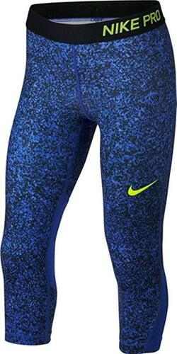 Girl/'s Nike Pro Printed Capri Training Tights 890221-461 Royal Blue Black Volt