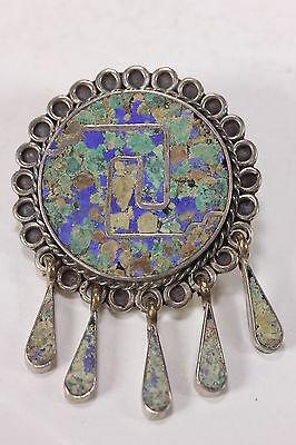 925 Sterling Silver Brooch Pendant Stone Chip Inlay & 5 Teardrop Pendants Taxco