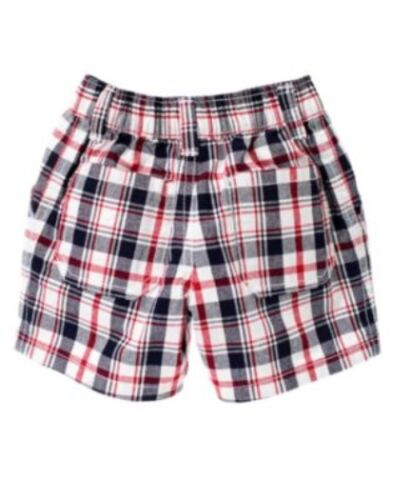 GYMBOREE ALL AMERICAN STYLE RED WHITE /& BLUE PLAID WOVEN SHORTS 0 3 6 12 NWT