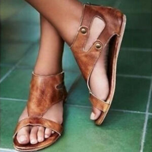 New-Womens-Gladiator-Sandals-Summer-Flat-Heel-Open-Toe-Leather-Shoes-Flip-Flops