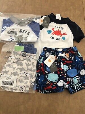 Gymboree Baby Swim Rashguard Crab Boy one piece 6 12 Months  NWT