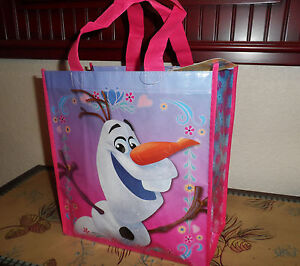Disney-FROZEN-Olaf-Happy-Snowman-Girls-Pink-Reusable-Christmas-Tote-Gift-Bag