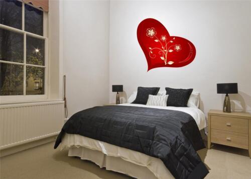 Autocollant Art Mural-full colour-Coeur rouge avec des fleurs Valentines