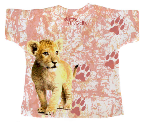 """DF Baby T-Shirt All Over Print /""""Baby Lion Cub Head/"""" Zoo Wild Animal King Paws"""