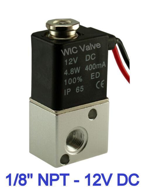 "1/8"" Inch Pneumatic 3 Way Electric Air Solenoid Valve 12V DC Zero Pressure Valve"