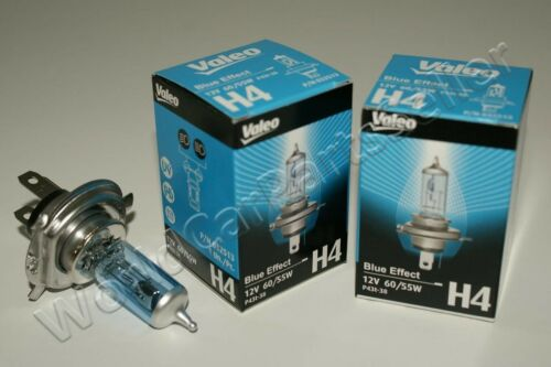 H4 Halogen Bulbs VALEO Xenon Effect Blue Color 12V 55W-60W P43t-38 2psc