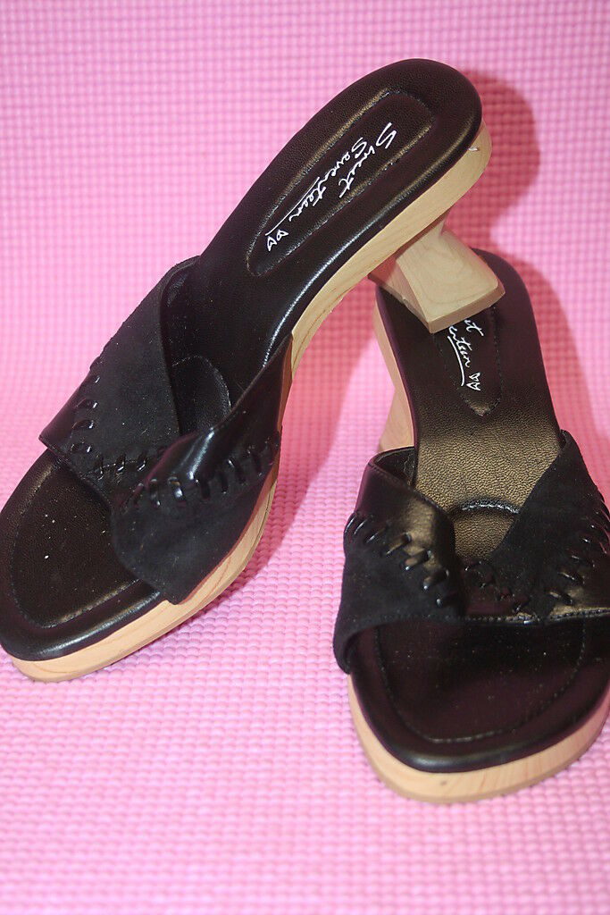 fr- WOMENS TOES SHOES SZ 7.5 OPEN TOES WOMENS WOODEN HEEL SLIDES IN EXCELLENT SHAPE c80c08