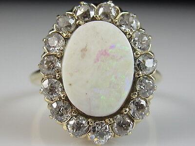 14K Opal Old Mine Diamond Ring Vintage Estate Art Deco Yellow Fine Size 7.25