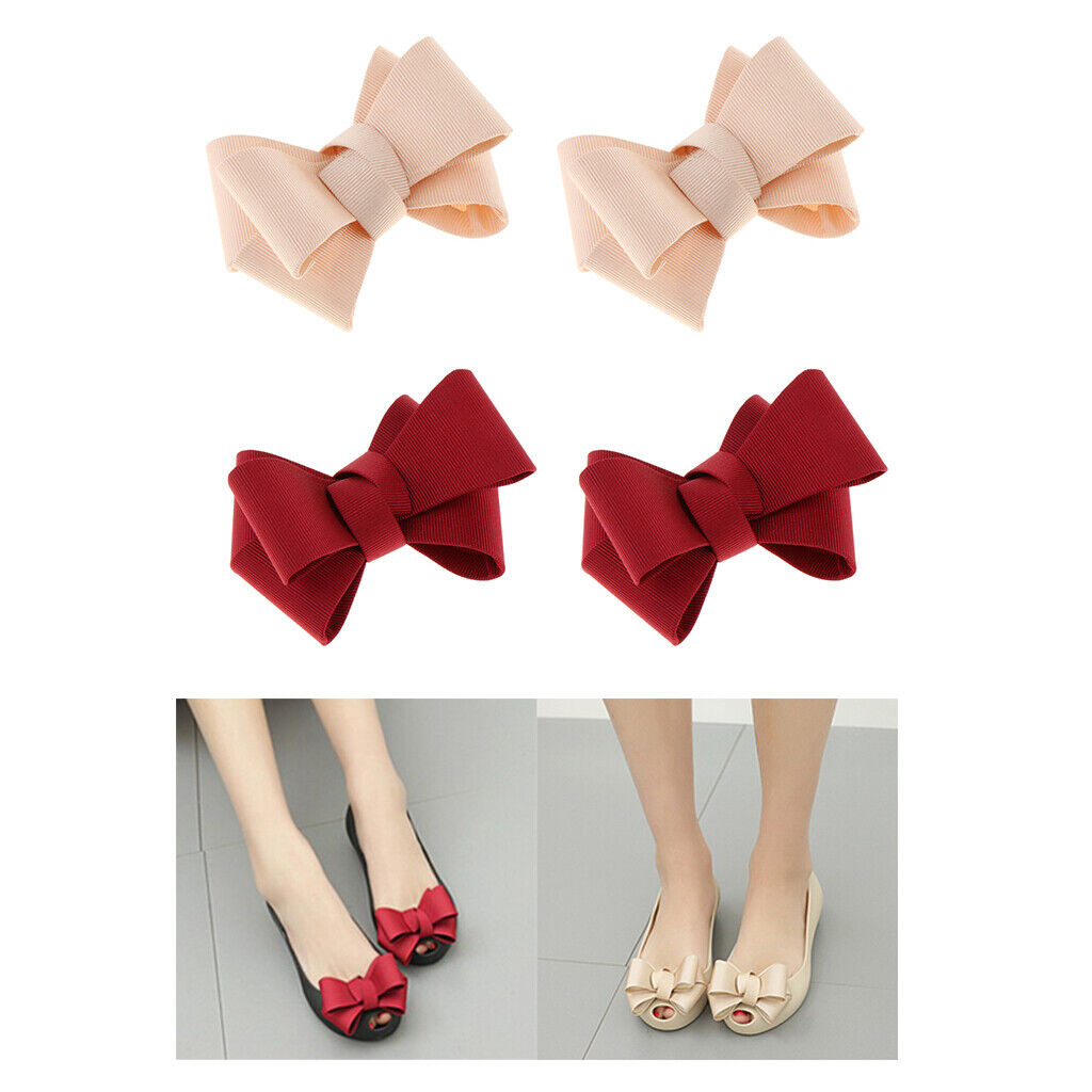 4 Pack Ribbon Bow Shoe Clips Removable Party Prom Shoe Charms Buckle Decor