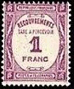 FRANCE-STAMP-TIMBRE-TAXE-YVERT-N-59-034-RECOUVREMENT-1F-LILAS-034-NEUF-xx-TTB
