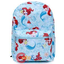 """Disney Princess Little Mermaid Ariel Large Backpack 16"""" AOP School Book Bag"""