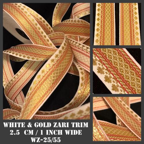 5 Yards Zari Gold Cream White Lace border SewOn Saree Suit Border 2.5cm Edging