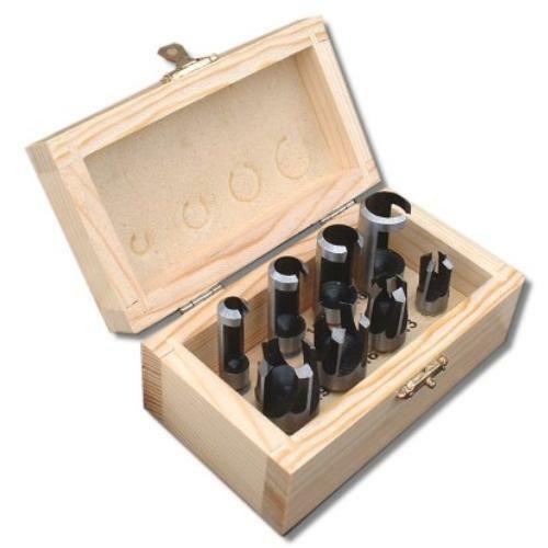 8PC Wood Plug Trou Cutter Set Dowel Maker outils de coupe 10 mm Tige Bit