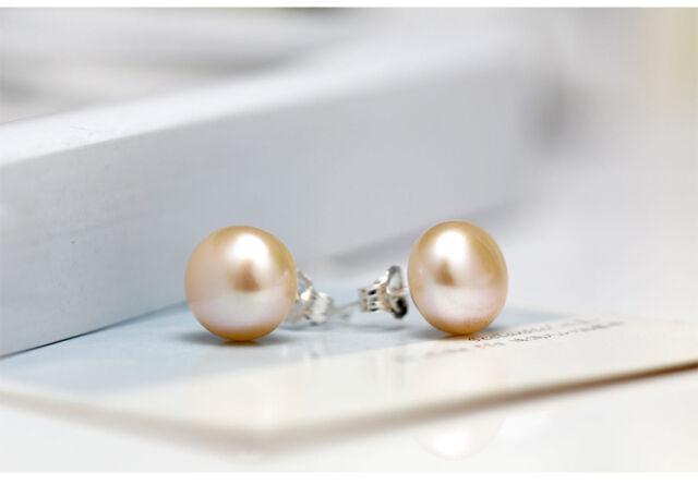 7mm 925 Sterling Silver Freshwater Pearl Stud Earrings - Champagne