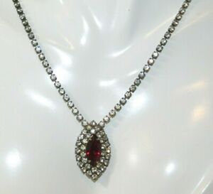 Christmas-Red-Ruby-Rhinestone-Tennis-style-16-034-Necklace-11m-20