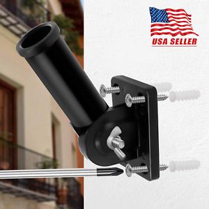 Adjustable-Black-Flag-Pole-Wall-Mounted-Bracket-1-039-039-Aluminum-flagpole-Rust-Free