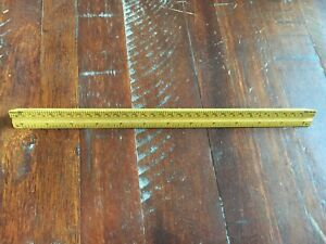 Vintage-Dietzgen-Triangular-Wood-Ruler-Drafting-12-inches-plus-metric