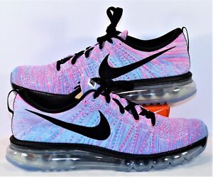 Details about Nike Flyknit Air Max Blue & Pink Black Women Running Shoes Sz 12 NEW 620659 104