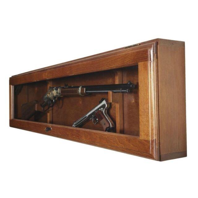 Buy Gun Display Cabinet Glass Door Wall Mount Horizontal Case Rifle