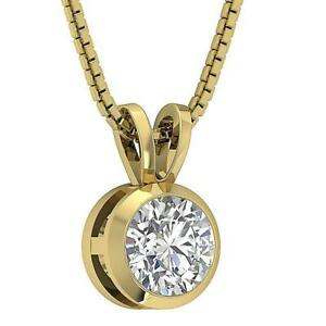 Solitaire-Pendant-Necklace-Natural-Diamond-I1-G-1-00-Ct-14K-Yellow-Gold-8-40-mm