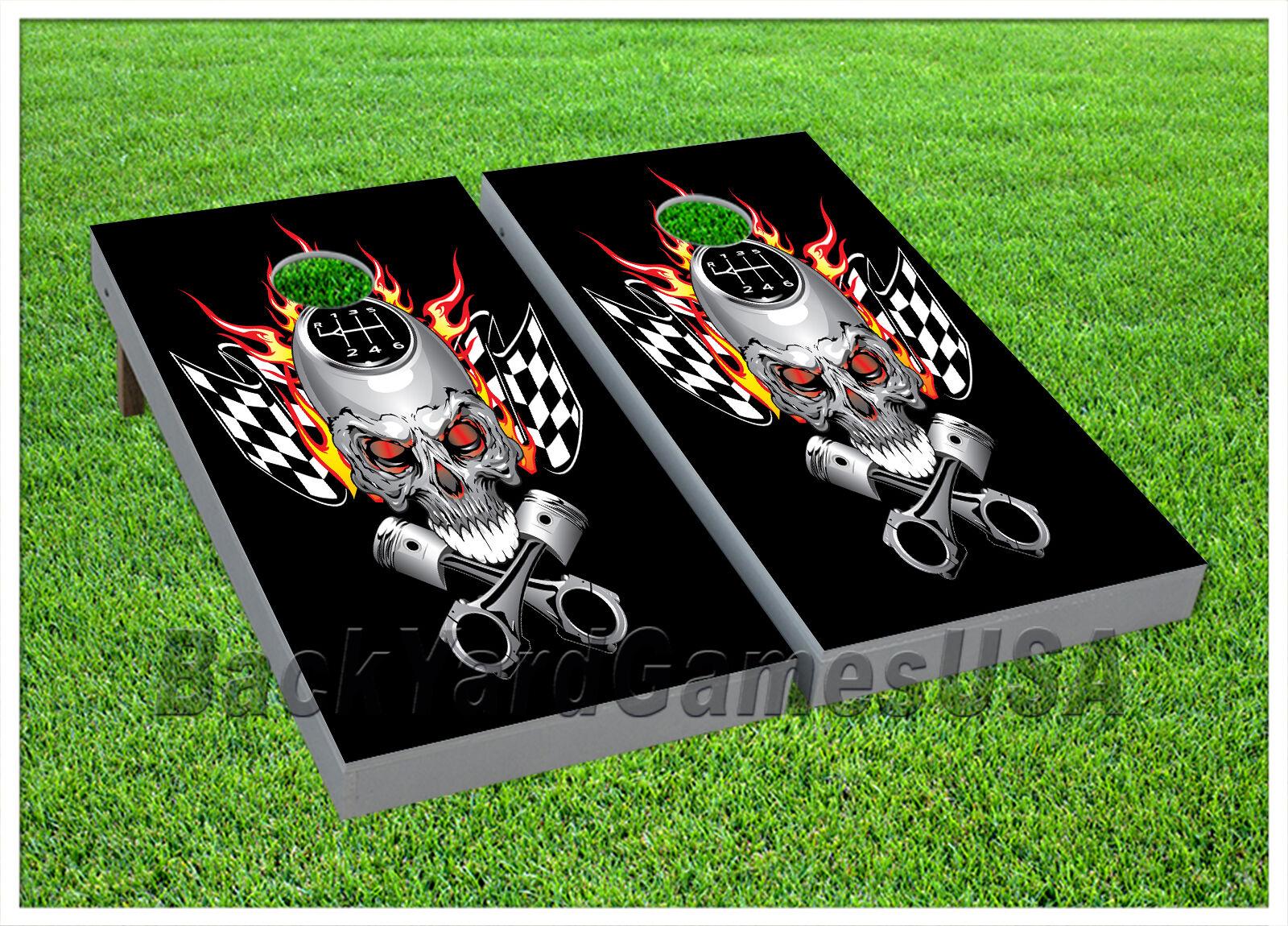 VINYL Motor Racing Metal Flame Skull WRAPS CORNHOLE BEANBAG Boards 954