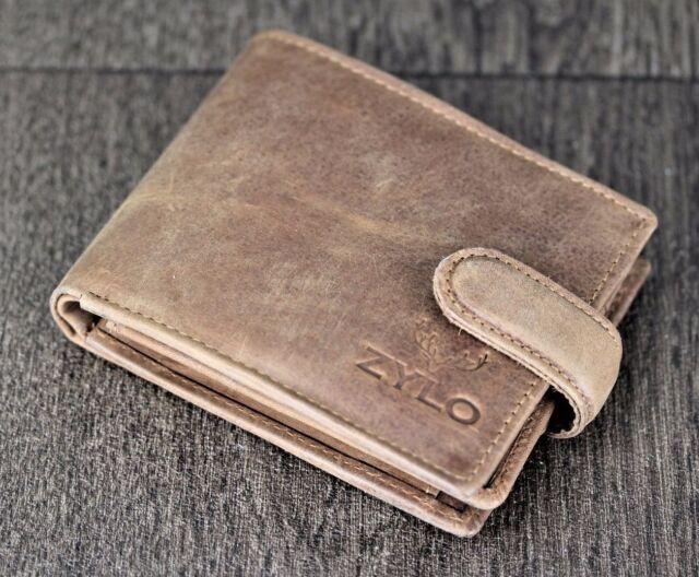 Mens slim Leather Wallet 100/% Genuine Real hunter black Card RFID blocking money