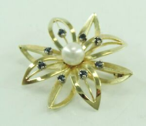 Vintage-Brosche-mit-Perle-ca-0-24-ct-Saphir-585er-14-Karat-Gold
