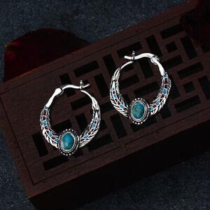 Vintage-Femme-Faux-Turquoise-Incruste-Plume-Boucles-D-039-Oreilles-Bijoux-Cadeau-Su