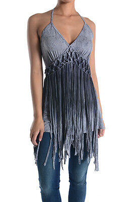 T-PARTY SEXY BRAIDED & FRINGE HALTER TOP #VRS22652 GREY