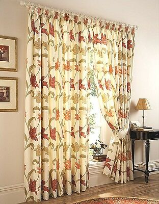 Kinsale Luxury Heavyweight Fully Lined Pencil Pleat Curtains including tie backs