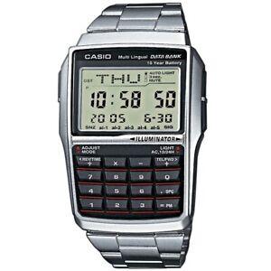 Casio-Uhr-DBC-32D-1AES-Taschenrechner-Digital-Armbanduhr-Herren-Silber-NEU-amp-OVP