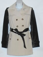 Jones New York Collection Belted Trench Coat Jacket Faux Leather Sleeves L NWT