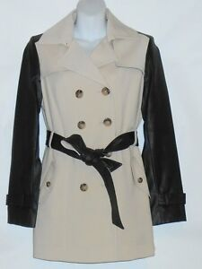 1e4be052f Details about Jones New York Collection Belted Trench Coat Jacket Faux  Leather Sleeves L NWT