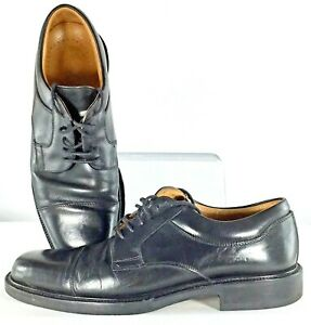 Johnston-Murphy-Passport-Oxford-Men-10W-Black-Leather-Cap-Toe-Lace-Up-Shoe-Italy