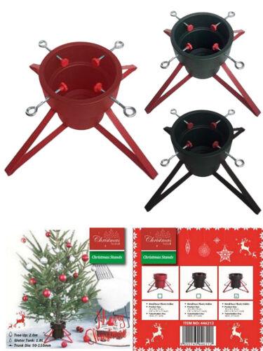 Métal Arbre de Noël Stand Base Housse Noir Rouge Quatre jambes en plastique vert Seau
