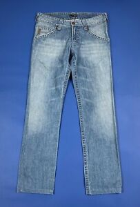 Armani-jeans-uomo-usato-slim-denim-vintage-W32-tg-46-blu-luxury-boyfriend-T6256