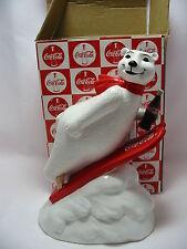 Coke Polar Bear Coin Bank Always Ski Jumping Coca-Cola Ceramic Enesco New 1996