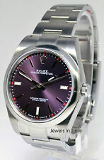 Rolex Oyster Perpetual Steel Automatic Mens Watch NEW Red Grape 39mm 114300