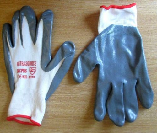 12 Pairs of Nitra Source Gloves Grey Size 10 Nitrile Coated Protective Gloves