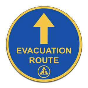 Evacuation-Route-Emergency-Blue-and-Yellow-Round-MDF-Wood-Sign