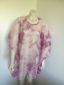 Pink-Creme-Kimono-Sleeve-Beachwear-Blouse-Size-18