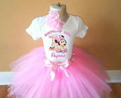 Minnie Mouse Girl First 1st Birthday Tutu Personalized Shirt Pink Outfit NEW